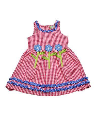 Another great find on #zulily! Pink & Blue Flower Gingham Dress - Infant, Toddler & Girls #zulilyfinds