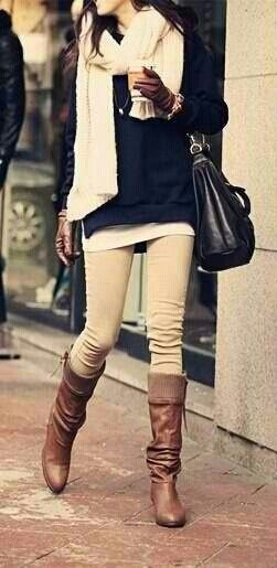 Tan skinnies, black top, cream scarf, and camel boots- bring on the cold weather!