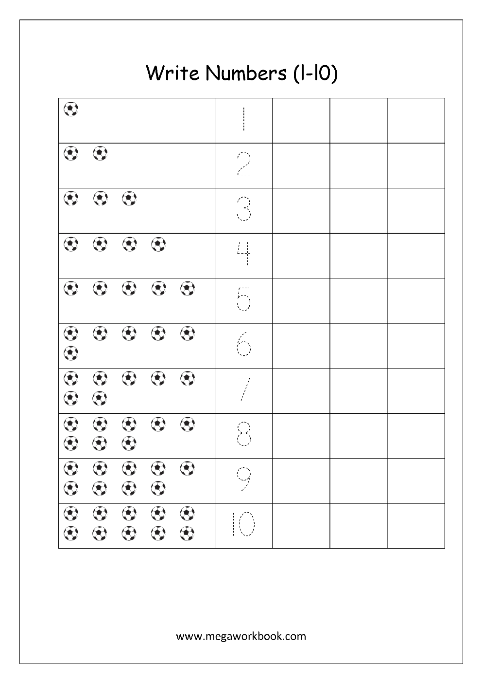 Math Worksheet Number Writing 1 to 10 Writing numbers