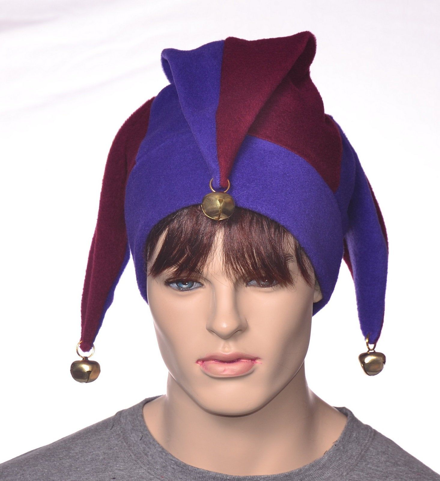 Ladies Men's Blue//Orange//Red Jester with Bells Unisex Fancy Dress Hat