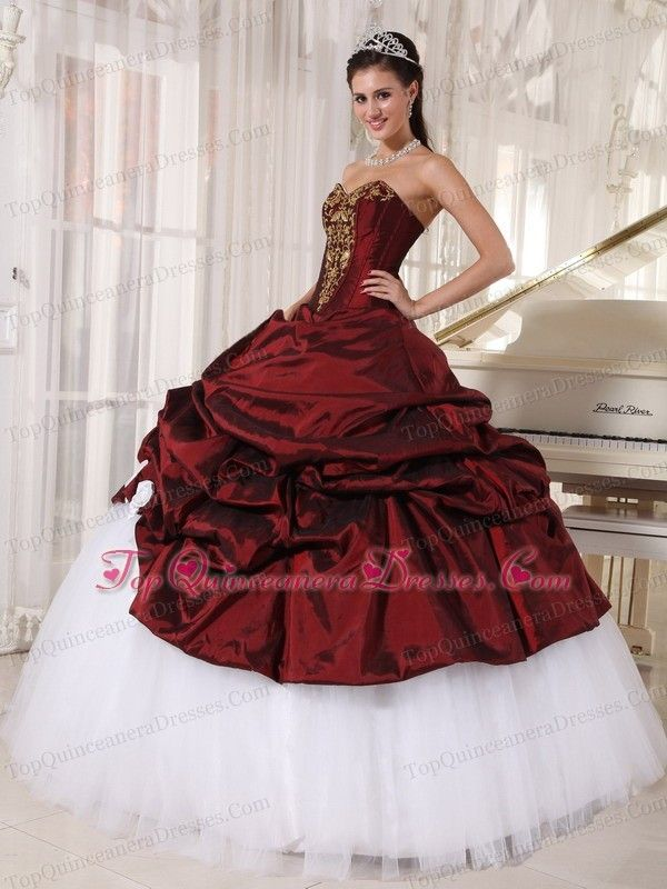 10b4dd44fd Burgundy And White Quinceanera Dress With Gold Appliques -  185.47 ...