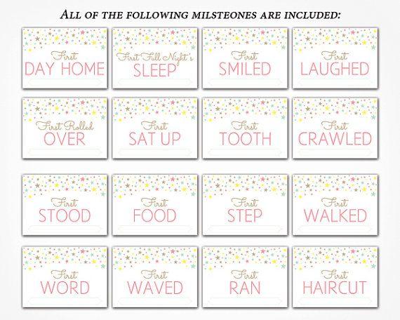 Baby Milestone Cards Printable Diy Instant By Charmingprintables