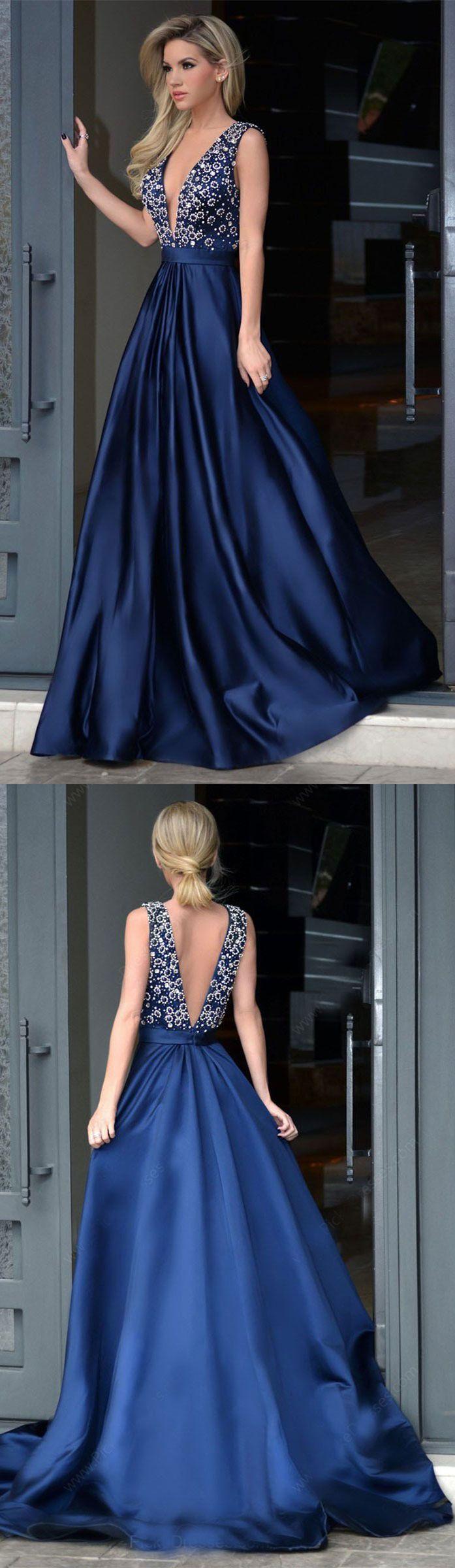 Aline vneck beaded bodice navy satin long prom dresses apd