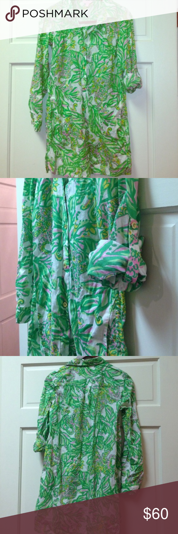 Lilly Pulitzer Tunic Cover up Beautiful tunic/ beach coverup. Like new condition. 100% cotton. Gold buttons. Lilly Pulitzer Swim Coverups