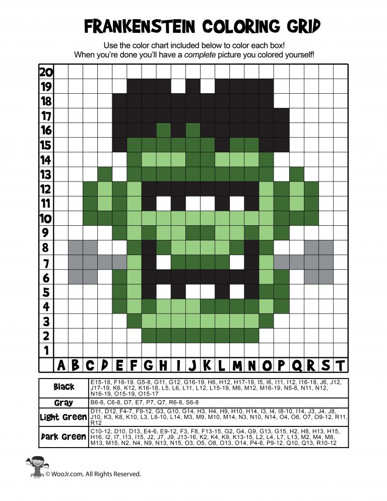 Frankenstein Printable Grid Coloring Answers Woo Jr Kids Activities Halloween Mystery Pictures Grid Frankenstein