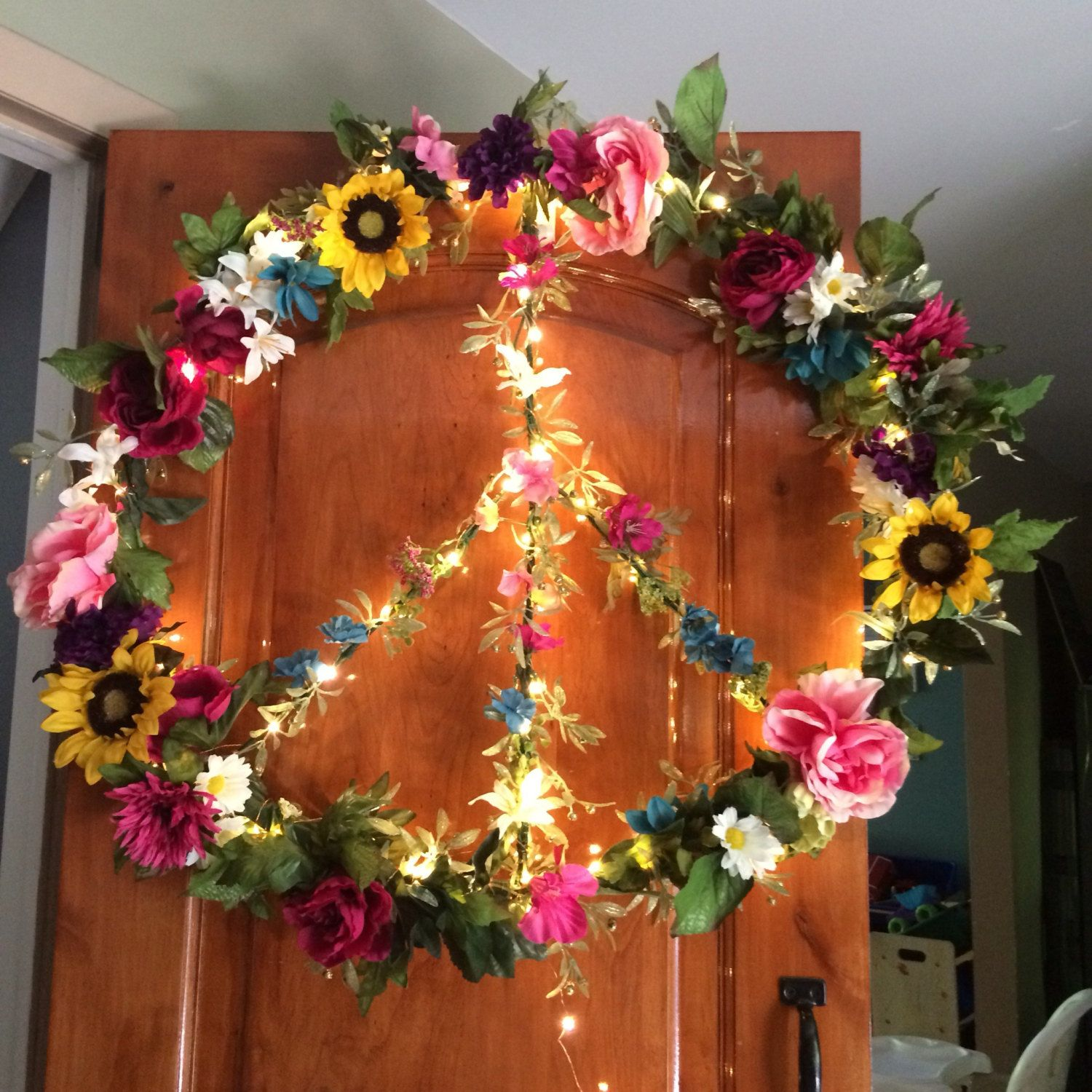 Giant fairy light floral peace sign by SwitzersSweets on Etsy