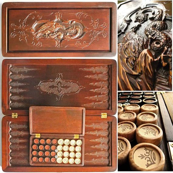 "Gift for men 20"" Backgammon set DRAGON & EAGLE Wooden Backgammon Carved Backgammon Backgammon game B"
