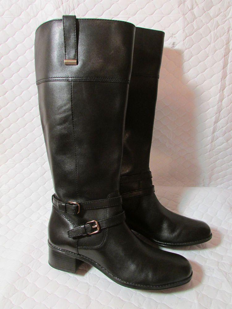 dfd561e11d3 Bandolino Women's CARLOTTA Black Leather WIDE CALF Tall Riding Boots ...