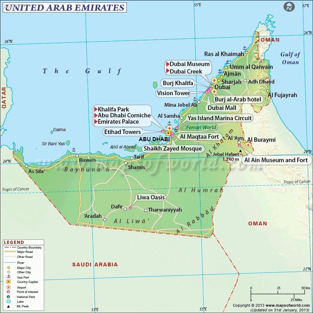 UAE Map United Arab Emirates United Arab Emirates Pinterest