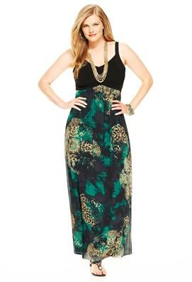76532f84897fd Plus Size Pleated Medallion Print Maxi Dress