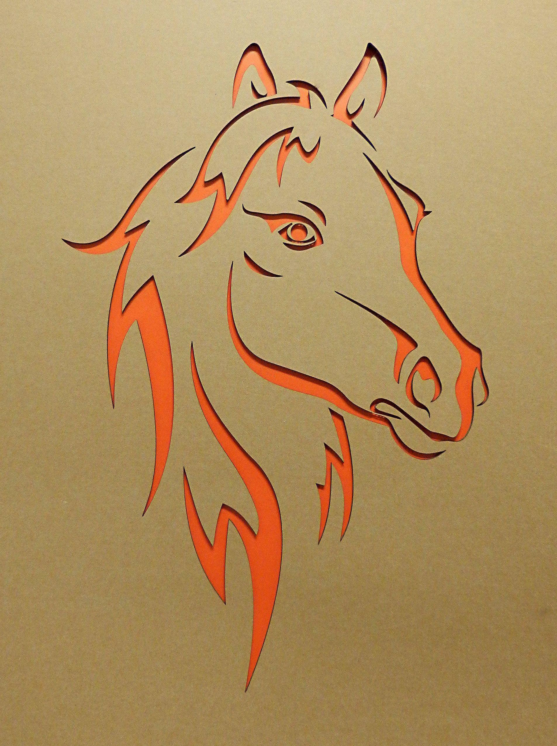 pferdekopf lasergestanzt pappkarton | laserstanzung lasergravur