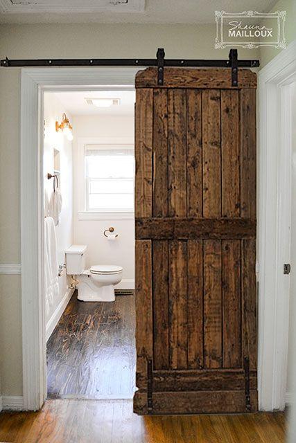 Reclaimed Wood Bathroom Floor Diy Sliding Door Sliding Doors