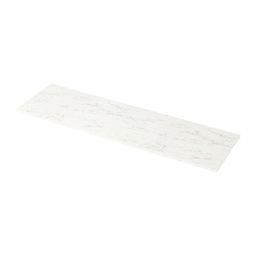Best Ekbacken Countertop White Marble Effect Laminate 98X1 1 640 x 480
