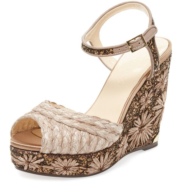 d74c79e55a30 Jimmy Choo Women s Perla 120 Embroidered Raffia Wedge - Size 36 ( 449) ❤  liked on Polyvore featuring shoes