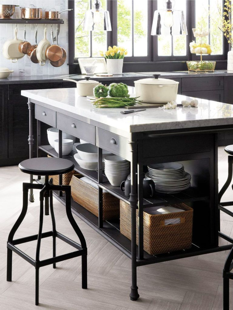 Large Marble Freestanding Kitchen Island With Storage On Thou Swell Thouswellblog