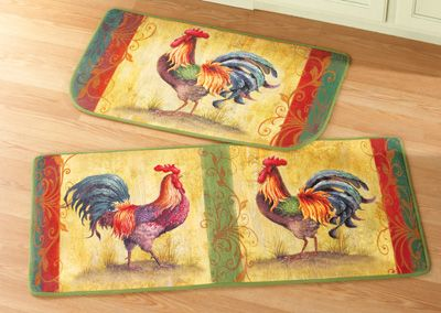 2-Piece Rooster Rug Set with Runner and Slice Rug