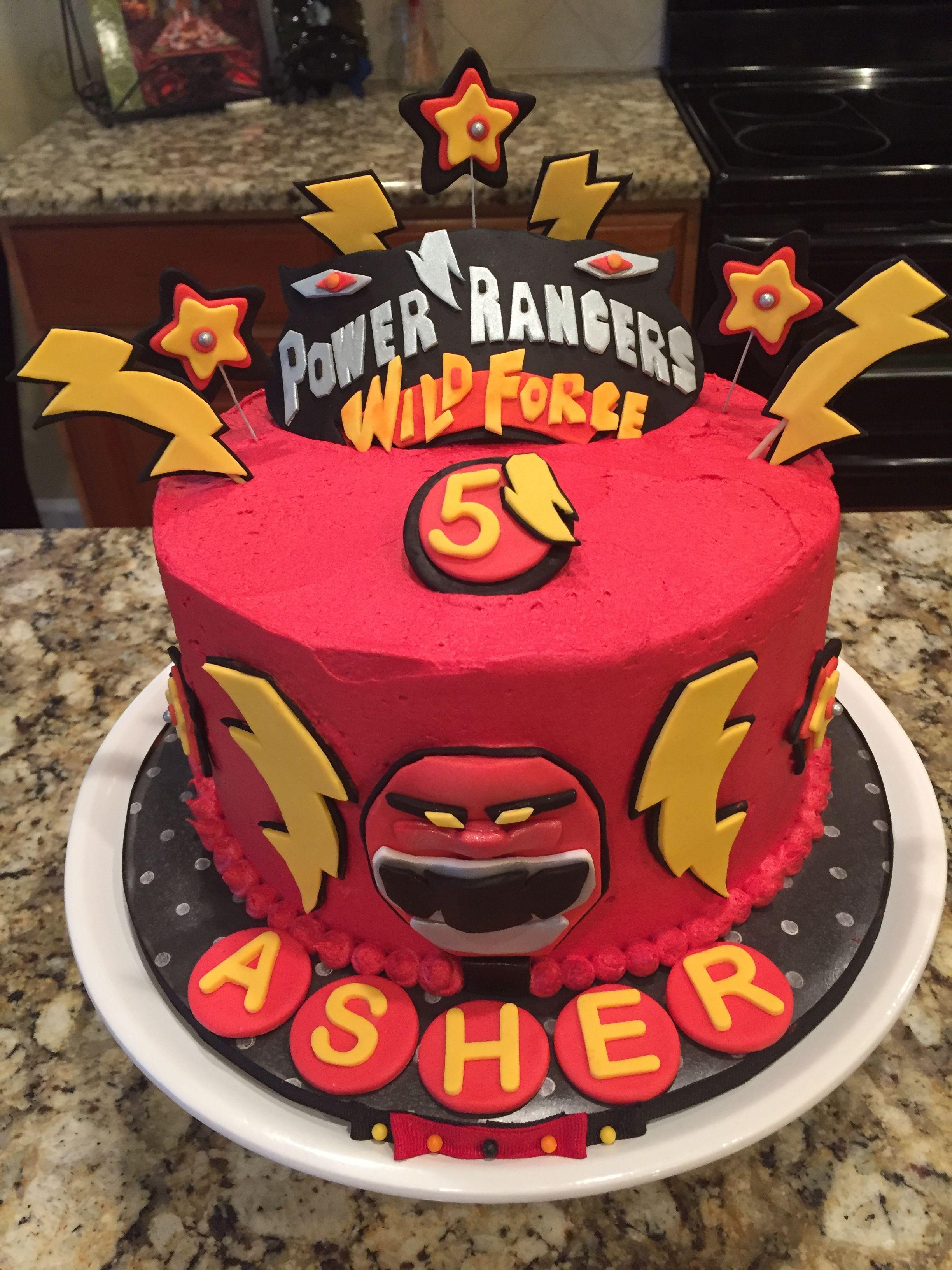Fine Power Ranger Wild Force Cake In Red Buttercream For 5 Year Old Personalised Birthday Cards Veneteletsinfo