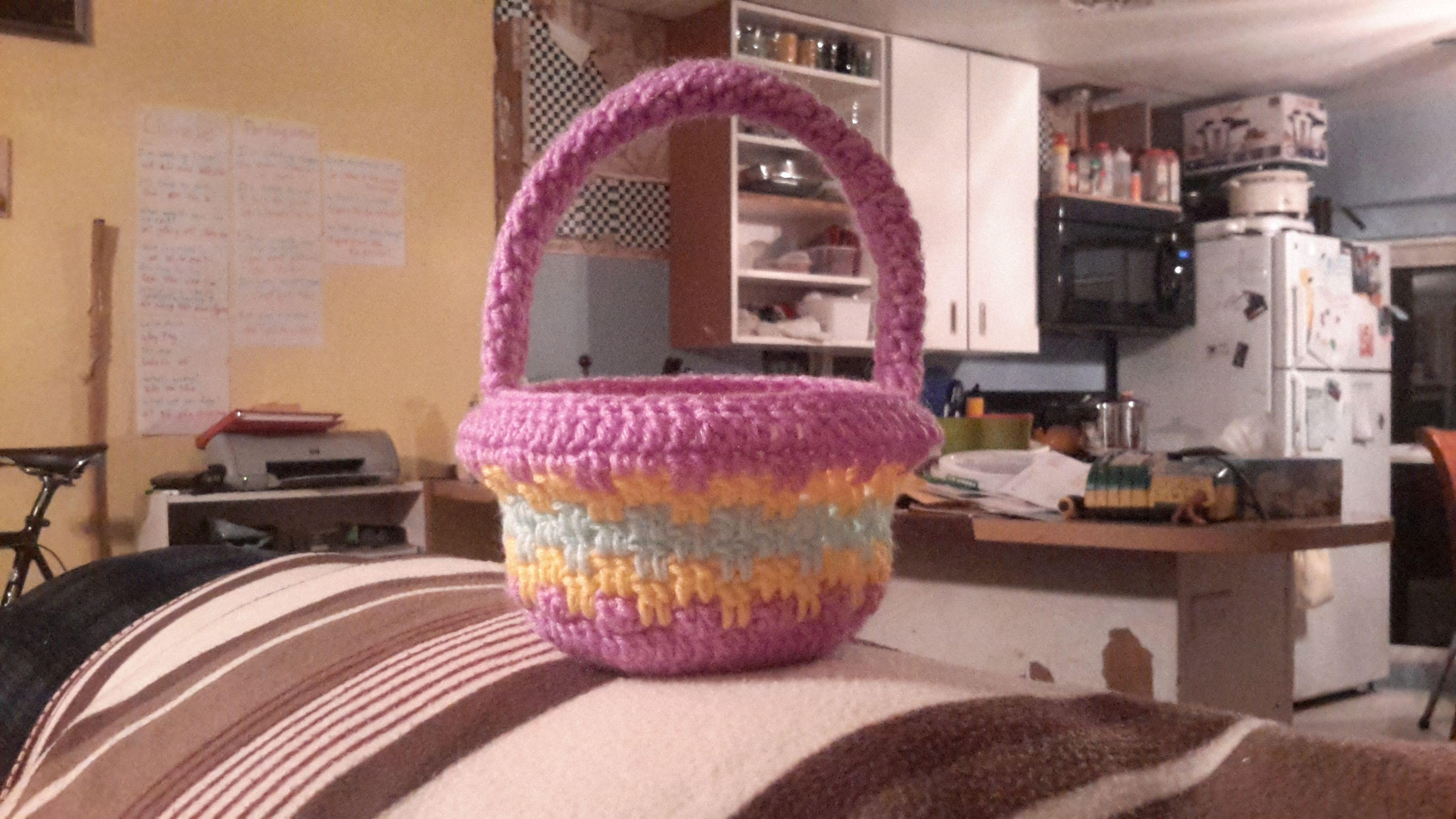 Crocheted striped Easter basket