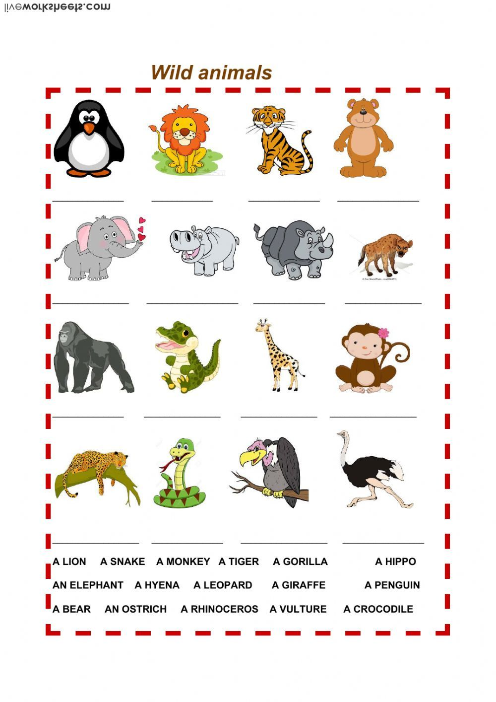 Animals Interactive And Downloadable Worksheet You Can Do The Exercises Online Or Download The Workshee Animals Wild Kindergarten Worksheets Animal Worksheets [ 1414 x 1000 Pixel ]