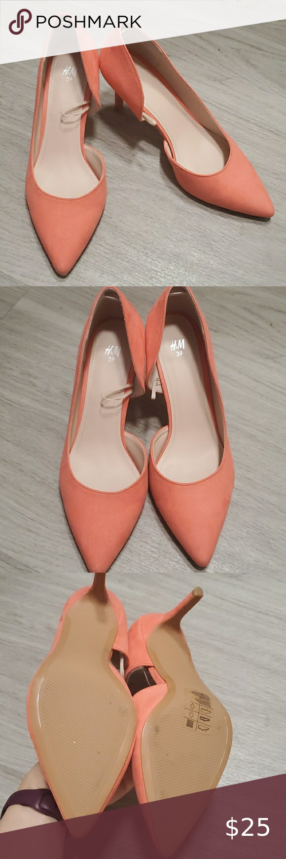 H M Coral Pink Pointy Pumps In 2020 Pointy Pumps Coral Pink Shoes Women Heels