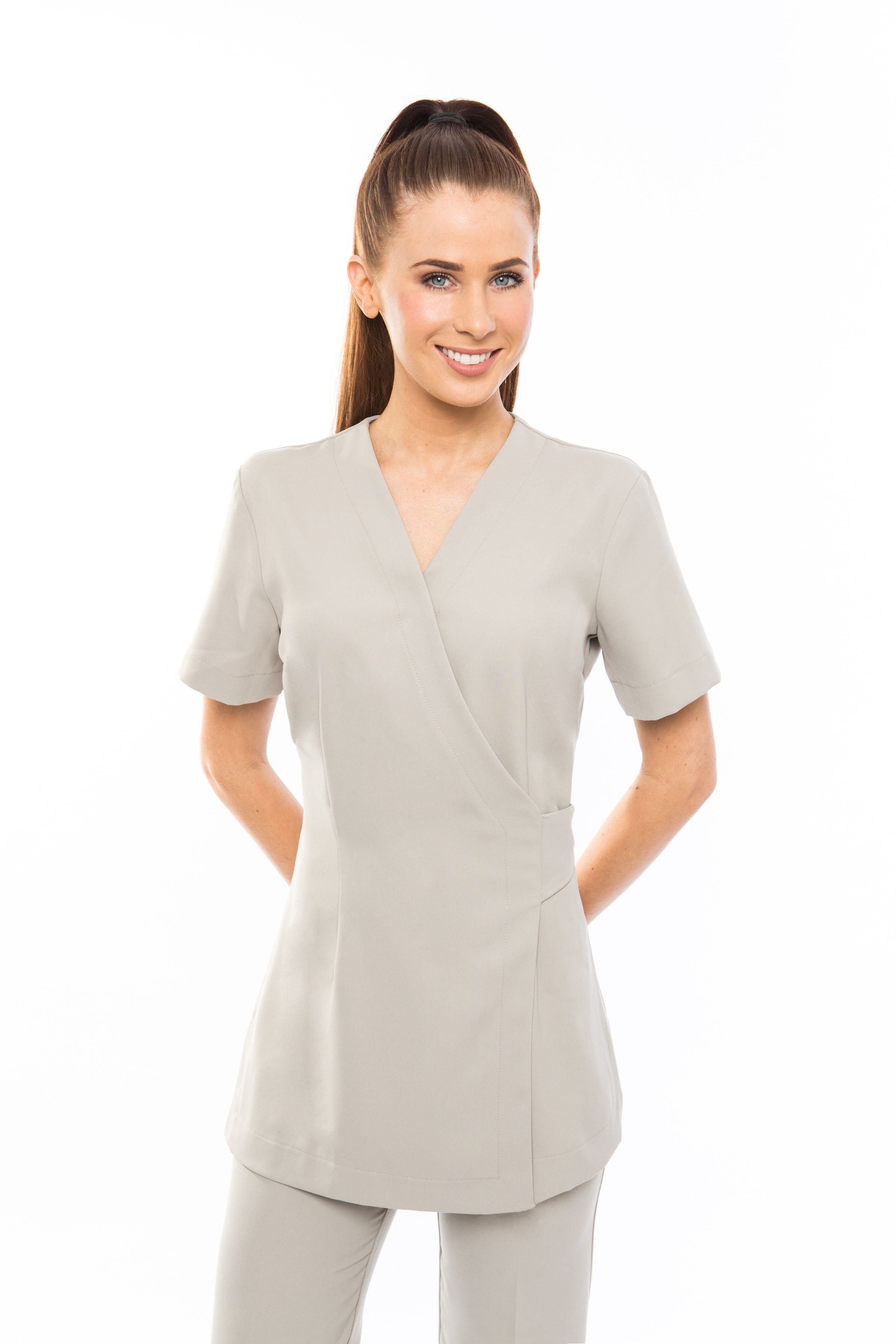 Spa 12 wrap work tunic glow acupuncture and esthetics for Spa uniform photos