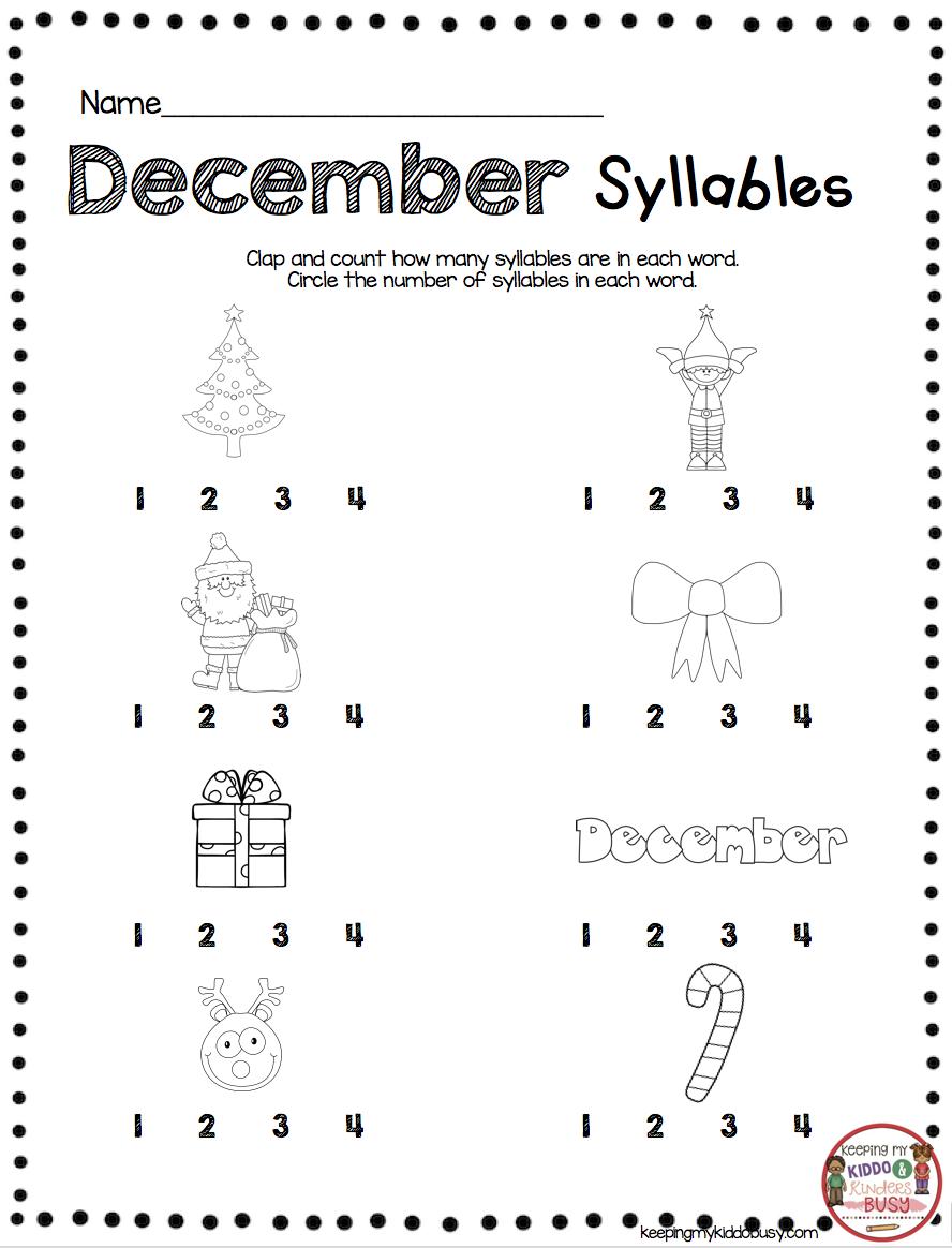 December Math And Literacy Pack Freebies Keeping My Kiddo Busy Christmas Kindergarten Christmas Worksheets Kindergarten Syllables Activities [ 1164 x 888 Pixel ]
