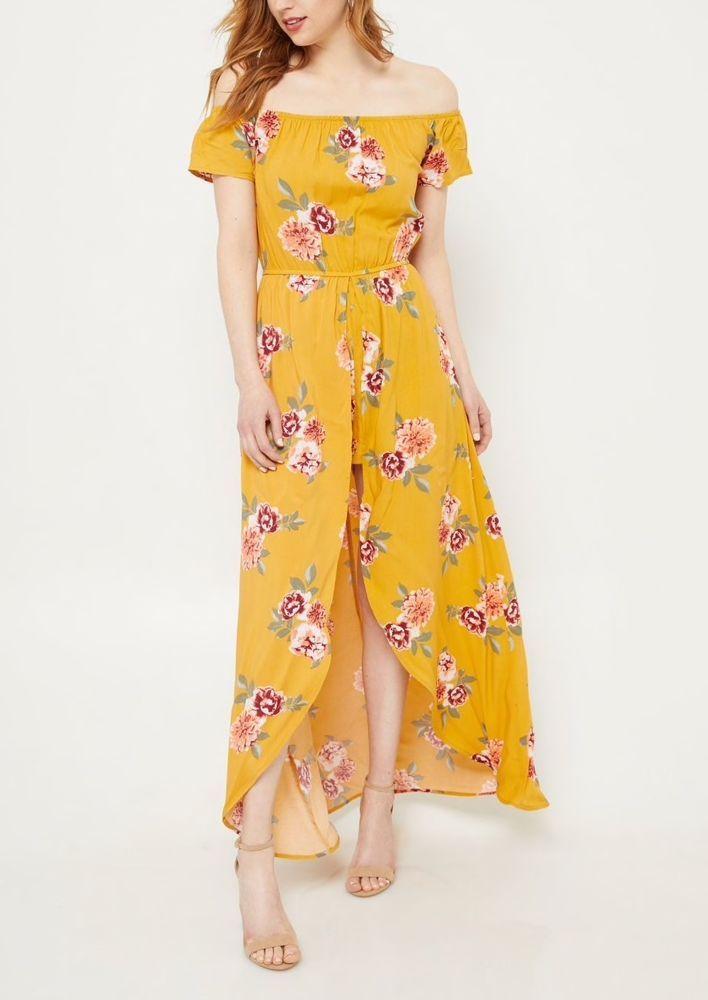 238a65a5d531 rue 21 Yellow Floral Print Short Sleeve Off Shoulder Maxi Romper (M ...