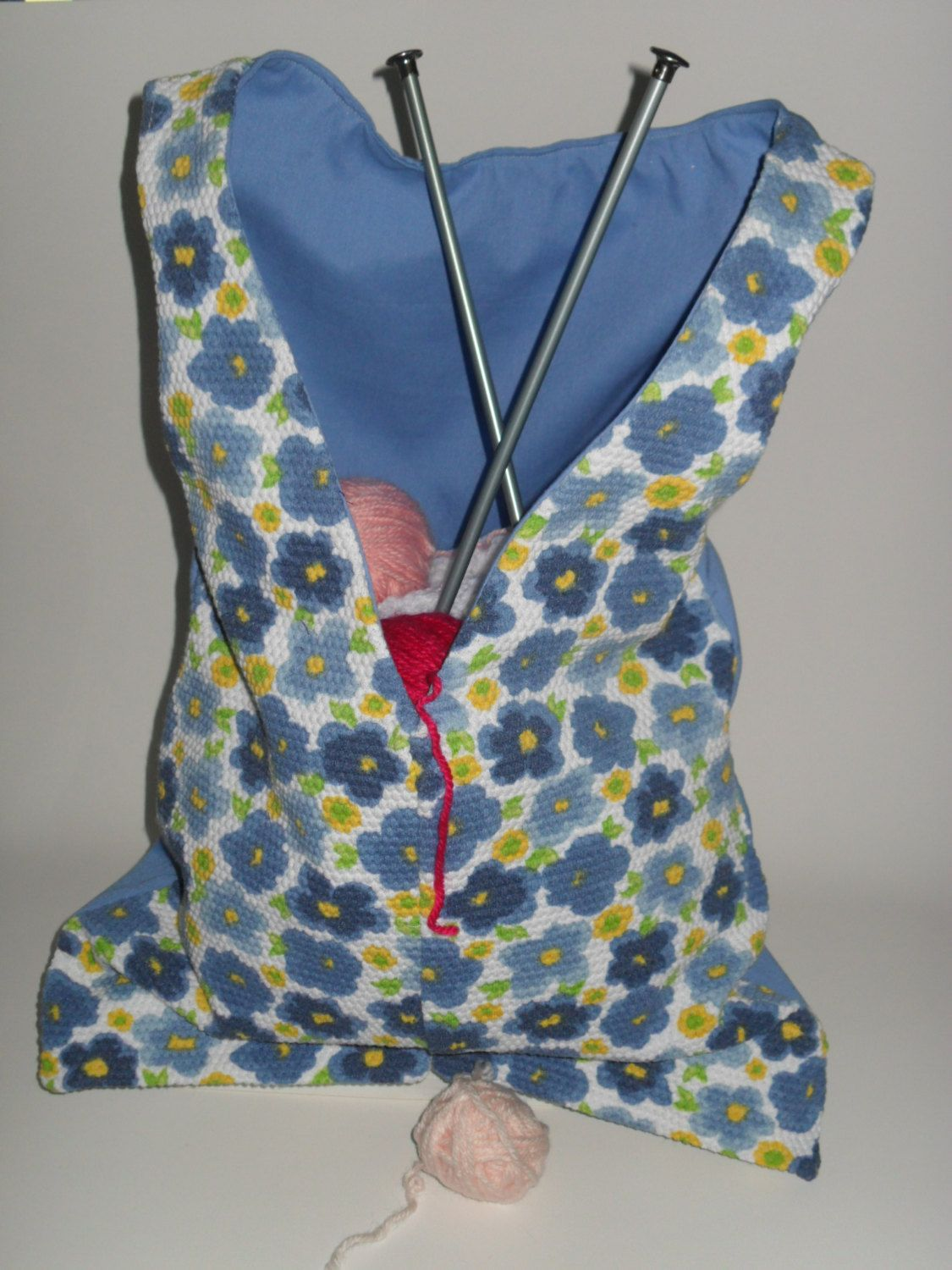 Upcycled Tote Bag Project Bag Blue & Yellow Flowers Jumpsuit over a Solid Blue Dress Bag form Fully Lined Little Dress Bag Little Pants Bag - pinned by pin4etsy.com