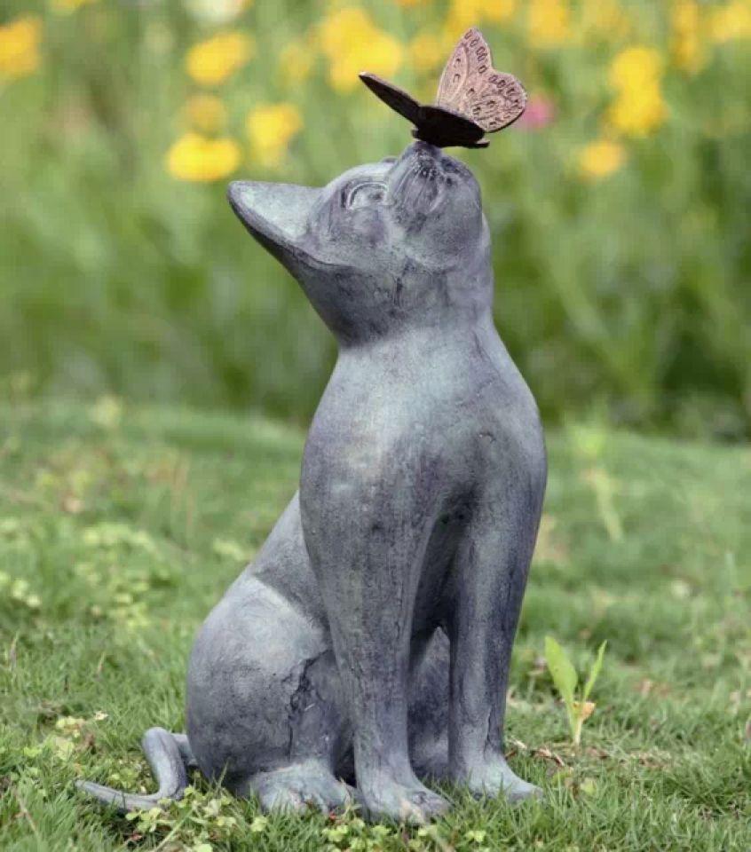butterfly Cat statue Pet figure garden Metal Kitty Sculpture Home ...