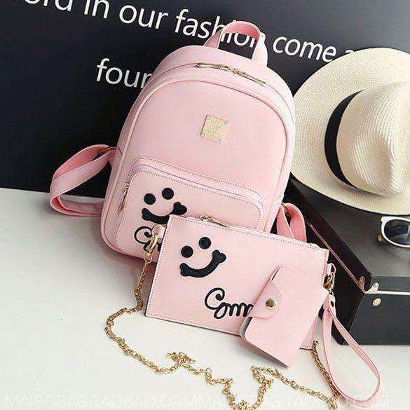 Cute Smile Face Black Pink Solid College Backpack #backpack