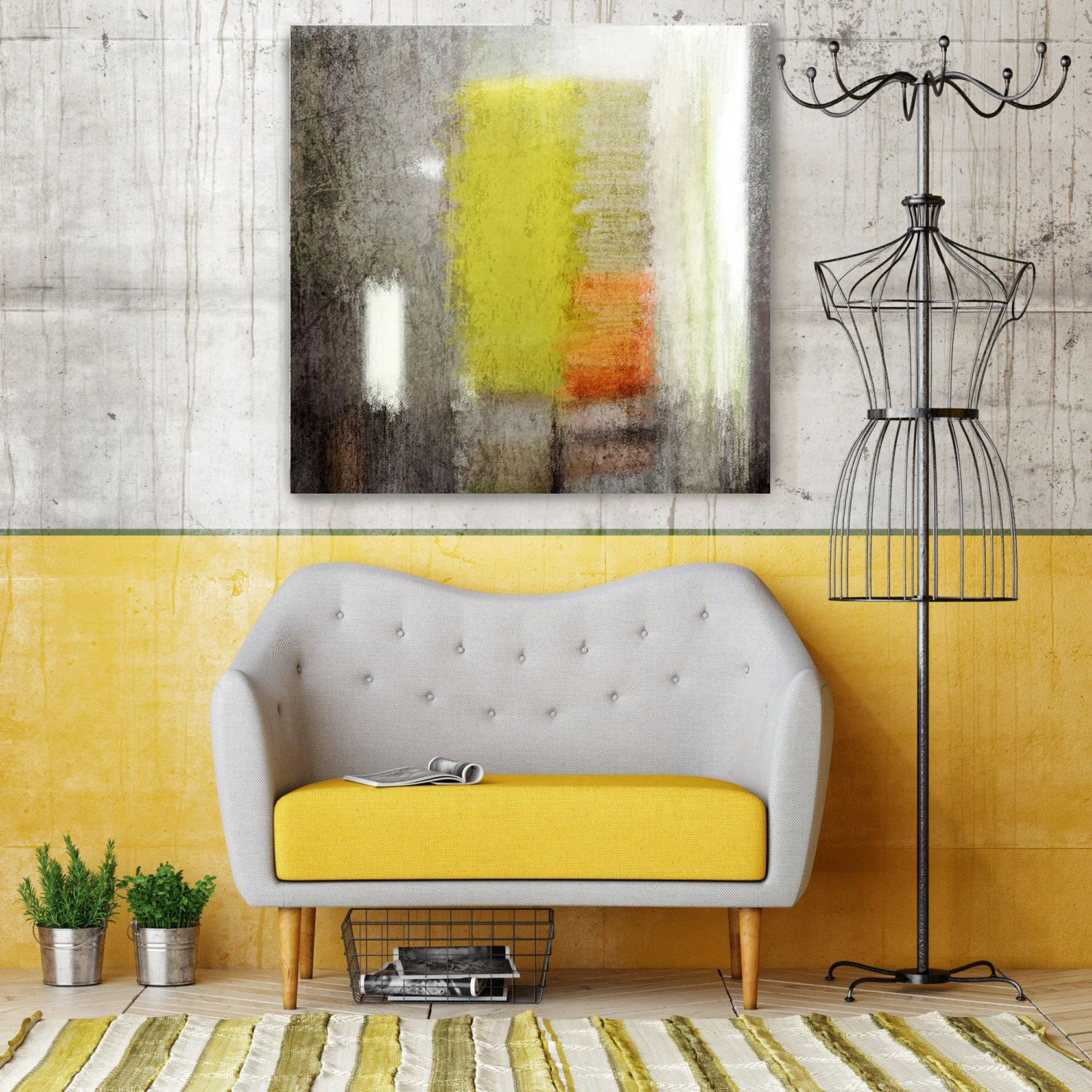 Abstract 4788-2. Yellow Brown Abstract Art Wall Decor Large | Art ...