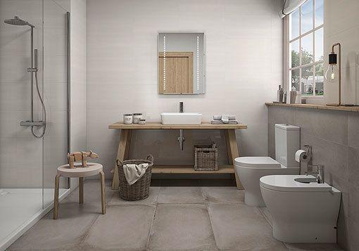 Nuevas colecciones de suelos y paredes de cerámica, en tonos fríos y - paredes de cemento