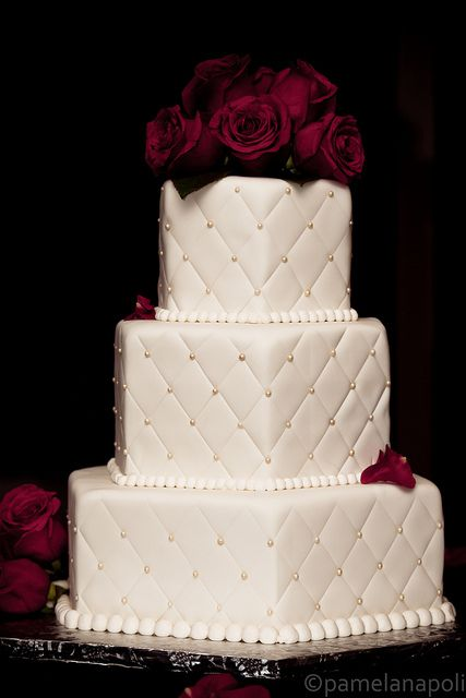 Hexagonal Quilted Wedding Cake With Roses Wedding Cake Quilted Purple Wedding Cakes Wedding Cake Roses