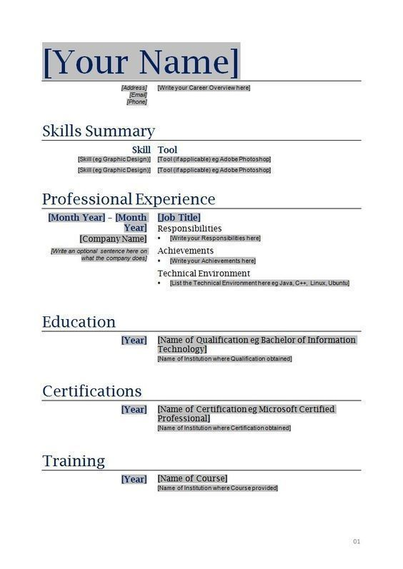 What Is A Resume Supposed To Look Like - Vision specialist Werk