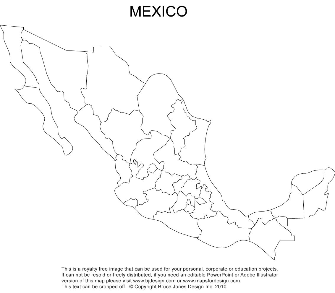 Mexico Blank Printable Map Royalty Free Clip Art CC Cycle - United states outline map free printable