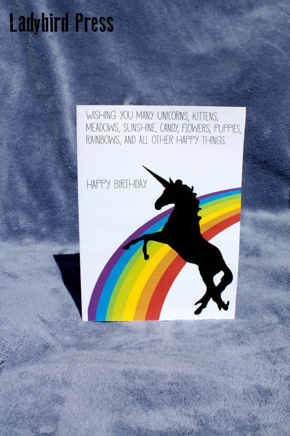 Printable Funny Unicorn Rainbow Birthday Card Happy