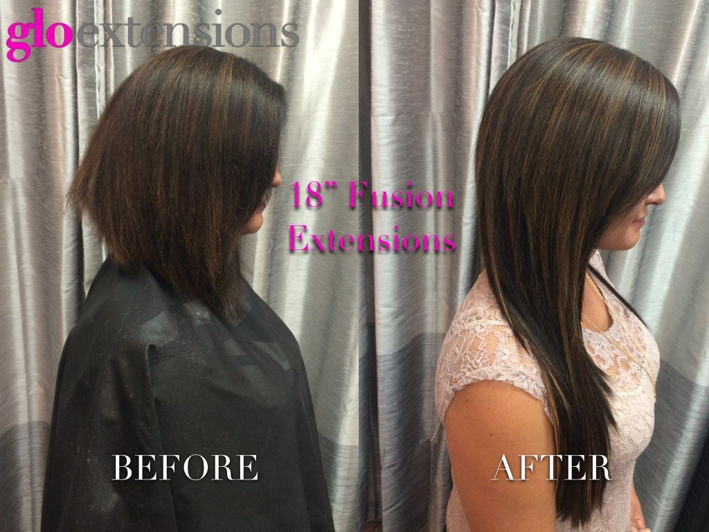 Hair Extensions Before And After By Glo Extensions Denver