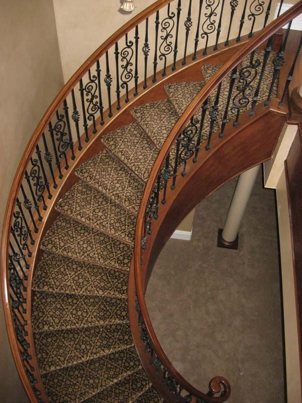 Wrought Iron, Closed Stringer W/cap, Freestanding Curved Staircase