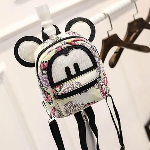 44be982fa661 Fashion Cute Mickey Ear Graffiti PU Leather 2018 Children School Bags Mini Female  Backpacks Zipper Printing