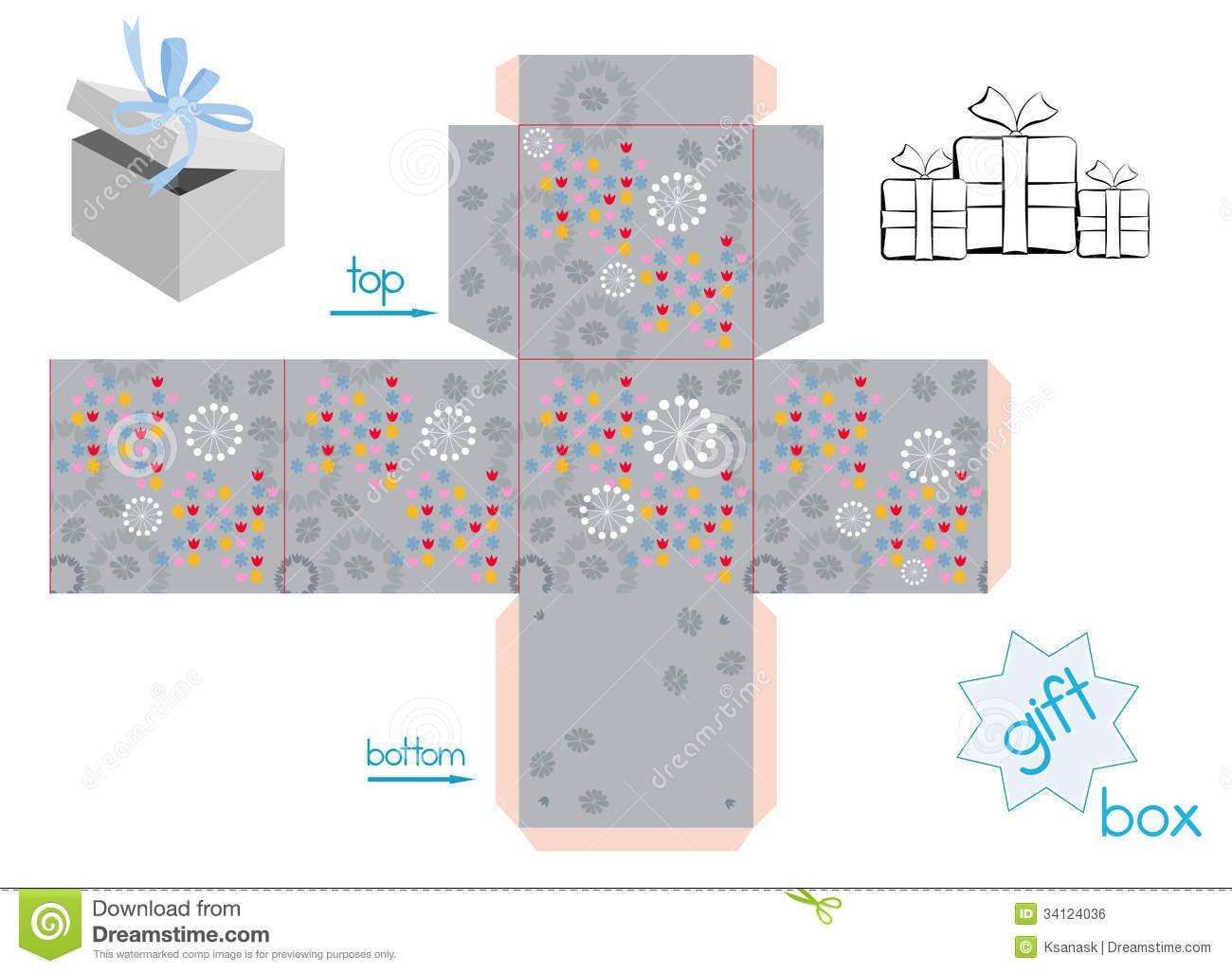 Plantilla Para La Caja De Regalo Del Cubo Imagen de archivo libre de ...