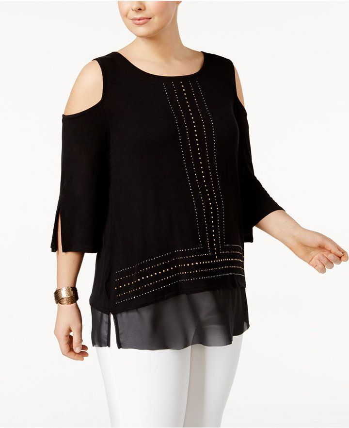 Belldini Plus Size Studded Cold-Shoulder Top