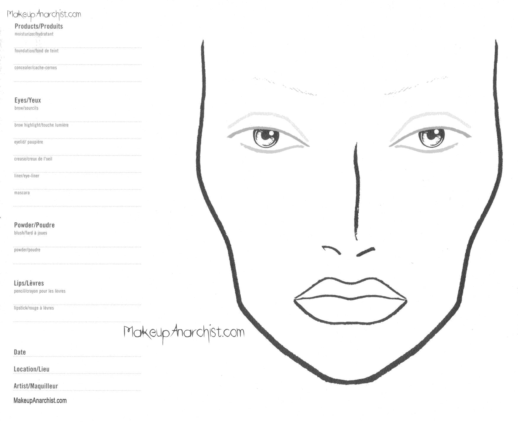 Blank Mac Face Charts Printable Face Chart Para Imprimir Rosto