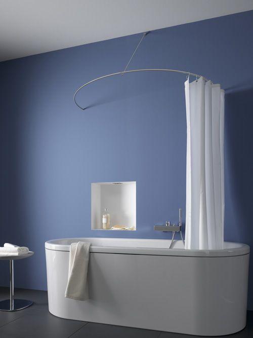 dr 700 hw duschvorhangstange edelstahl als halbkreis mit wandbefestigung bad accessoires in. Black Bedroom Furniture Sets. Home Design Ideas