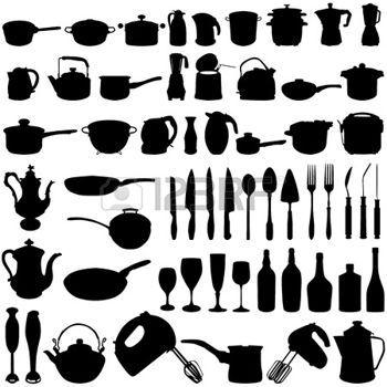 padelle: oggetti di cucina Vettoriali | Vettorial Silhouettes ...