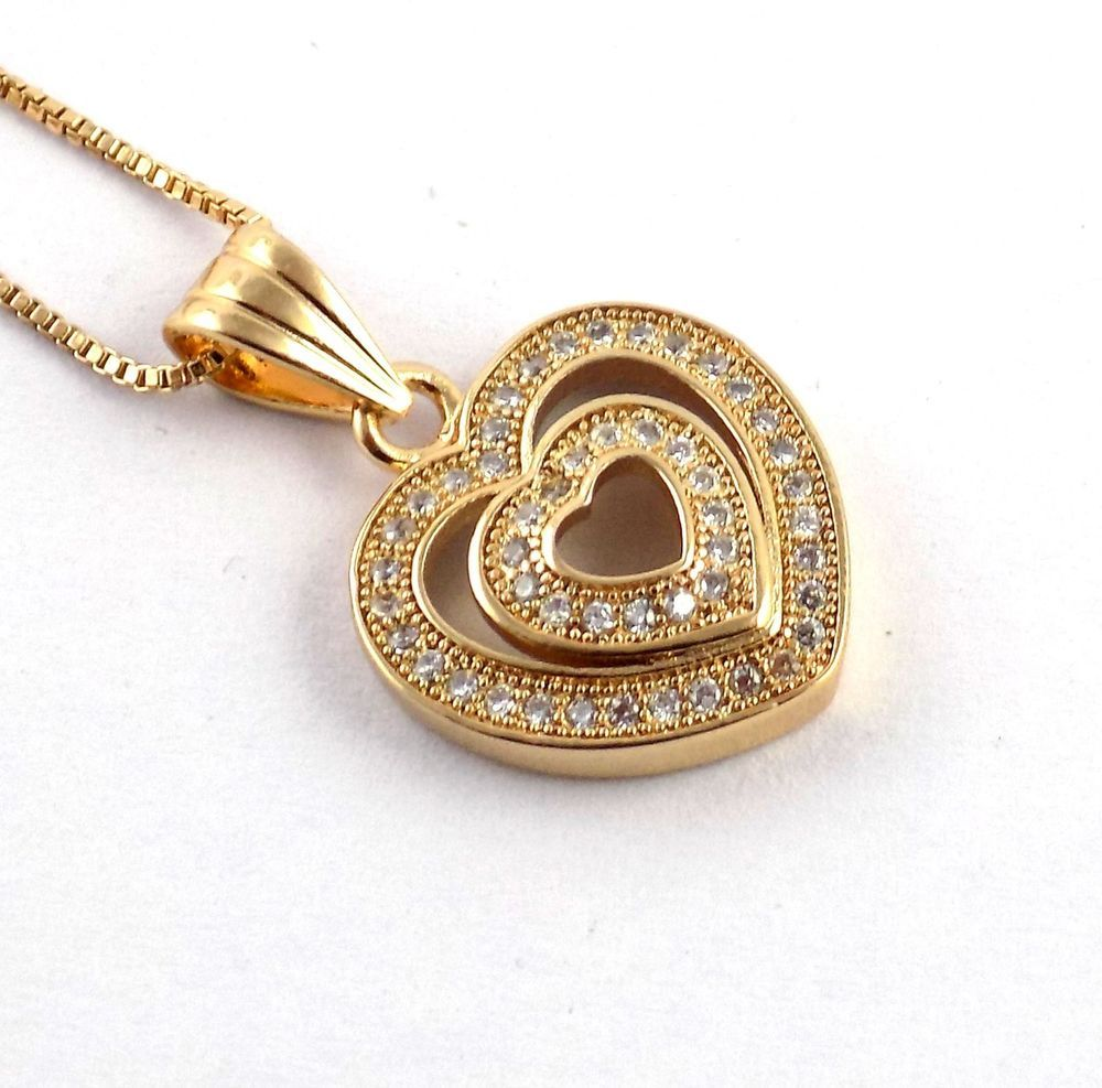 New Style Double Heart Shape Pendent With CZ Stone Chain Necklace ...