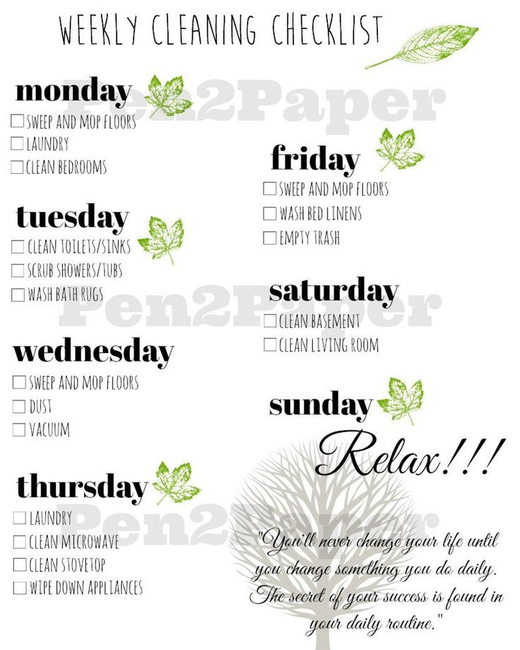 WEEKLY CLEANING CHECKLIST Instant Download // Clea