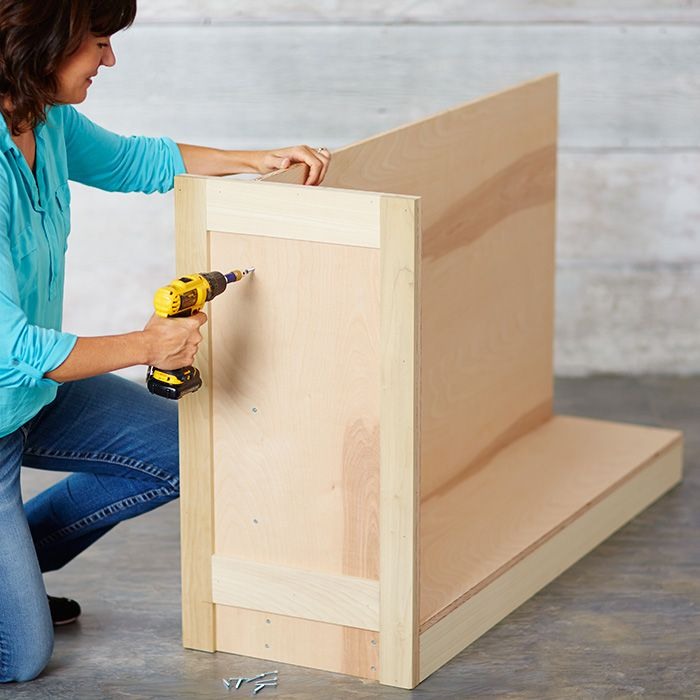 Secure The End Panel To The Base Assembly Diy Cabinets