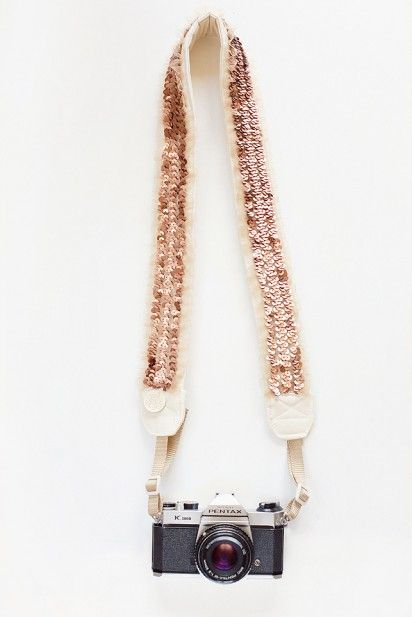 gold sequined camera strap