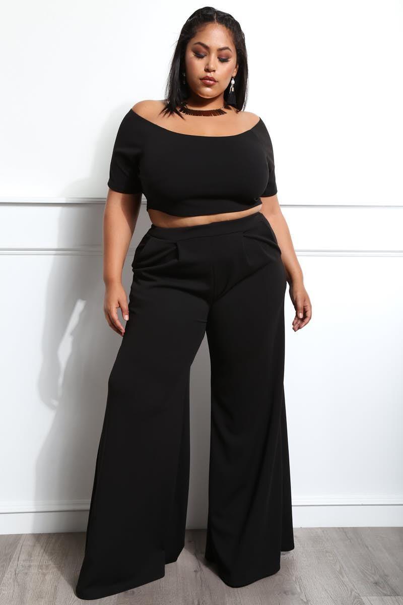 fed7d64ac57ba Selena Plus Size Wide-Leg Pants + Crop Top Set