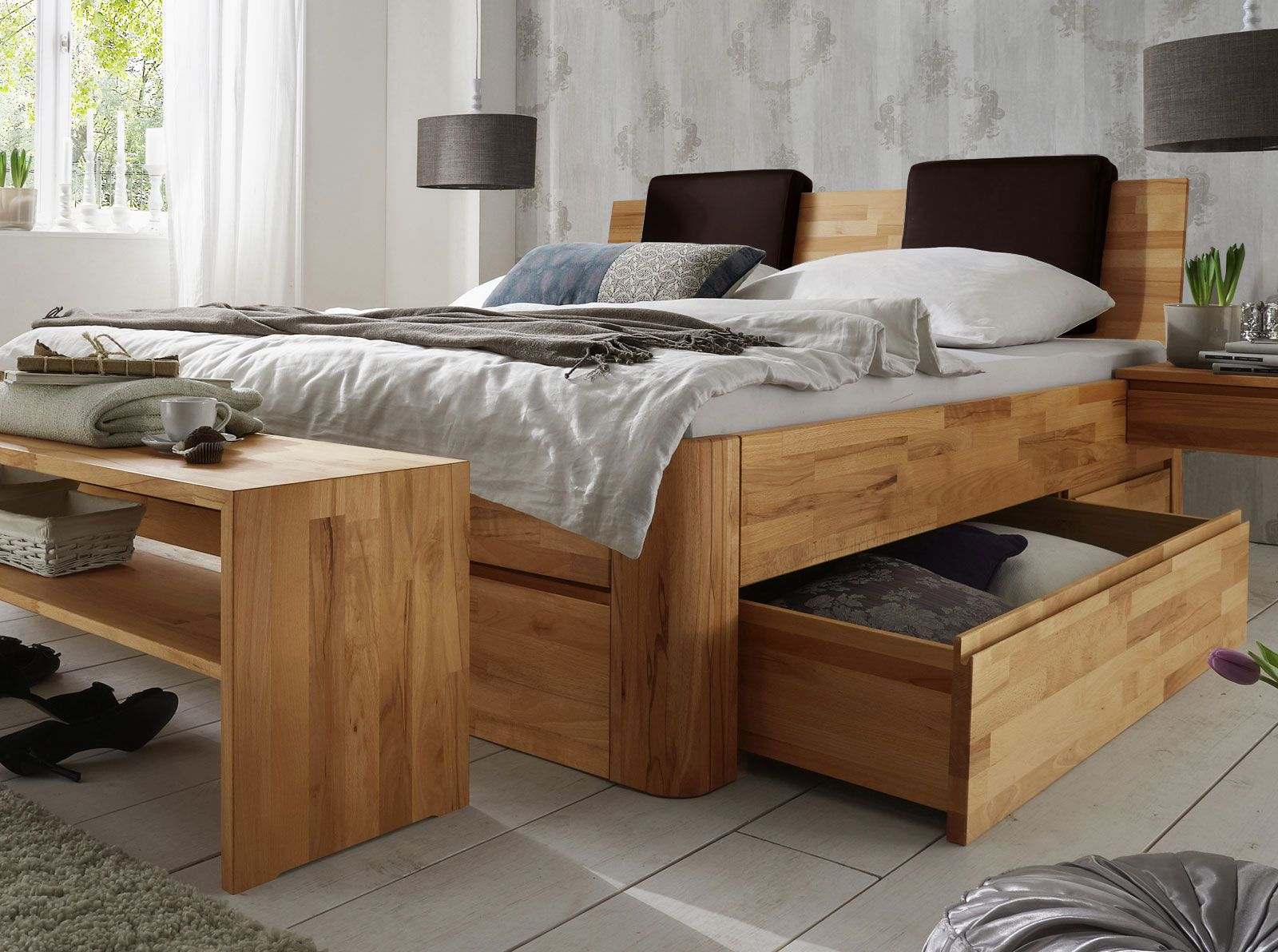 schubkasten doppelbett zarbo dunkelbraun kunstleder und doppelbett. Black Bedroom Furniture Sets. Home Design Ideas